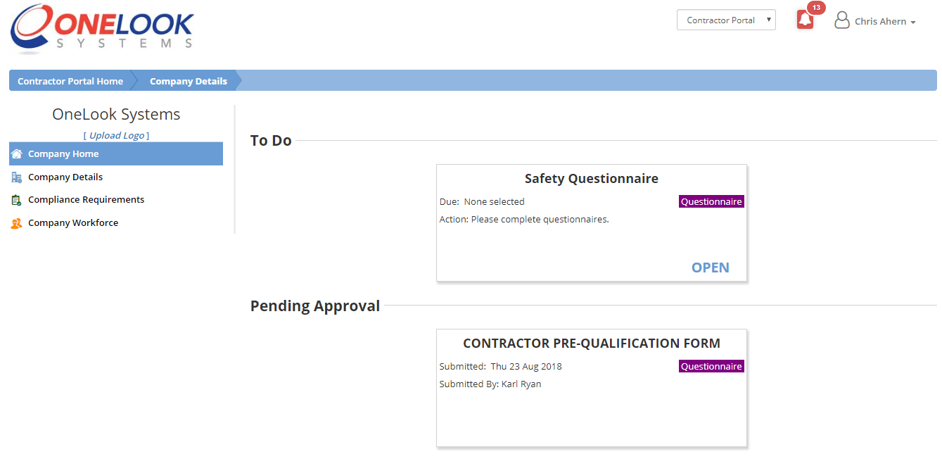 picture of contractor management portal for technology sector